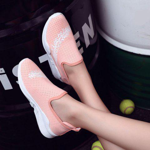 Fancy Breathable Leaf Printed Athletic Shoes - 38 PINK Mobile