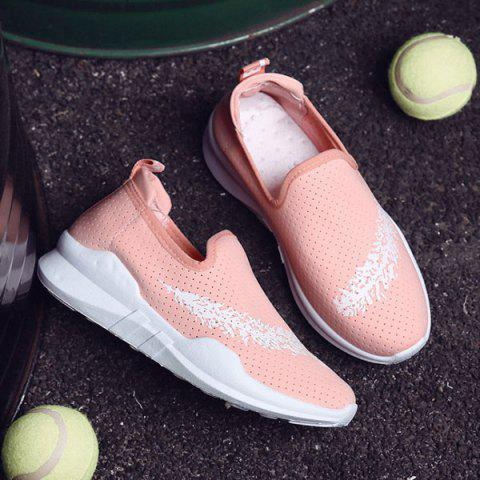 Store Breathable Leaf Printed Athletic Shoes - 38 PINK Mobile