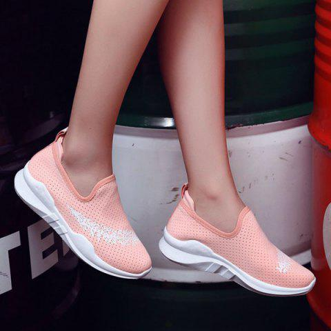 Sale Breathable Leaf Printed Athletic Shoes - 38 PINK Mobile