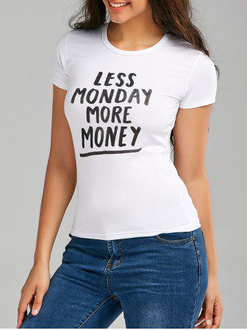 Shops Less Monday More Money Graphic T Shirt - M WHITE Mobile