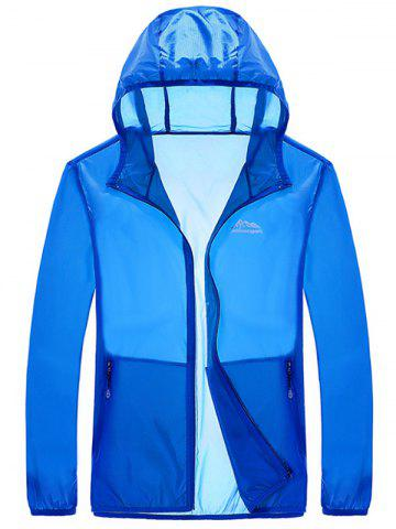 Fashion Zipper Up Hooded UV-Protection Wear - 2XL BLUE Mobile