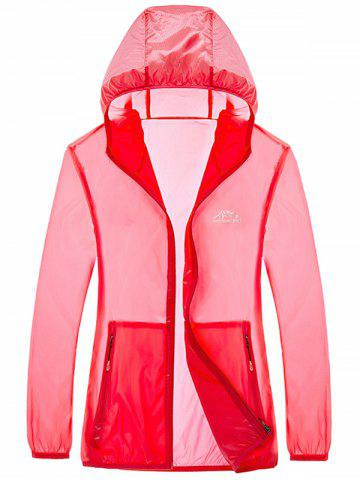 Outfits Zipper Up Hooded UV-Protection Wear - 4XL WATERMELON RED Mobile