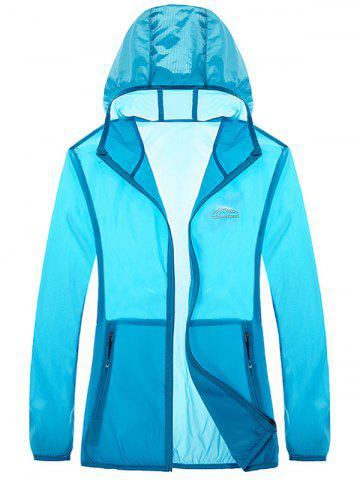 Hot Zipper Up Hooded UV-Protection Wear - 4XL AZURE Mobile