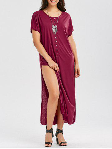 Casual Up Up Maxi T Shirt Robe Rouge vineux S