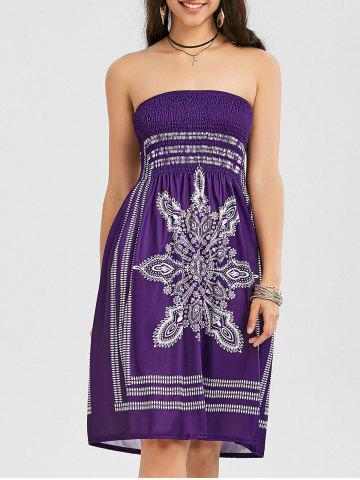 Sale Tribal Print Bohemian Strapless Dress - M PURPLE Mobile