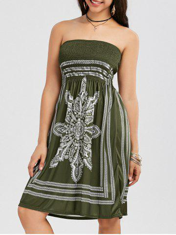 New Tribal Print Bohemian Strapless Dress - L ARMY GREEN Mobile