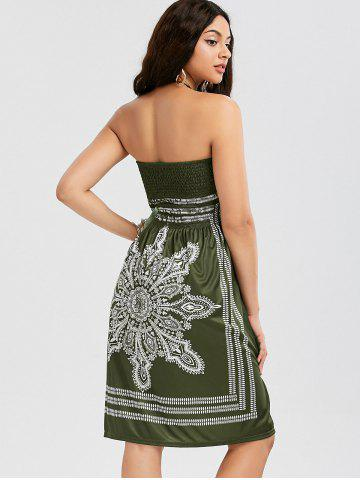 Latest Tribal Print Bohemian Strapless Dress - S ARMY GREEN Mobile