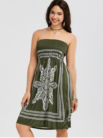 Outfit Tribal Print Bohemian Strapless Dress - S ARMY GREEN Mobile