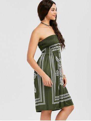 Chic Tribal Print Bohemian Strapless Dress - S ARMY GREEN Mobile
