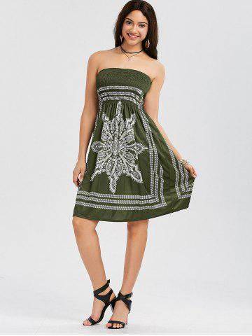 Affordable Tribal Print Bohemian Strapless Dress - S ARMY GREEN Mobile