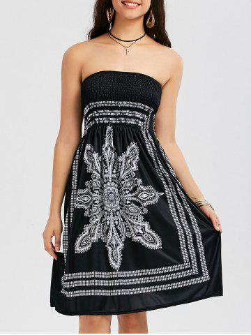 Outfit Tribal Print Bohemian Strapless Dress - XL BLACK Mobile