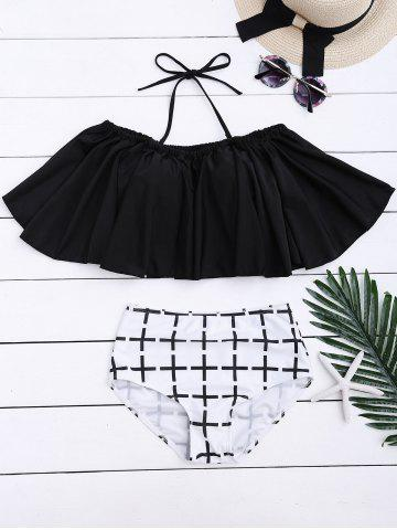 Fancy Off Shoulder Flounce Plaid Underwire Bikini Set BLACK XL