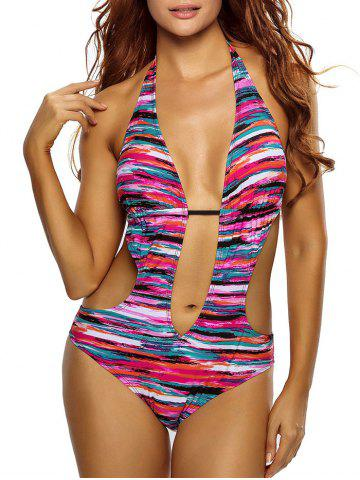 Outfit Halter Deep V Striped Swimsuit - S COLORMIX Mobile