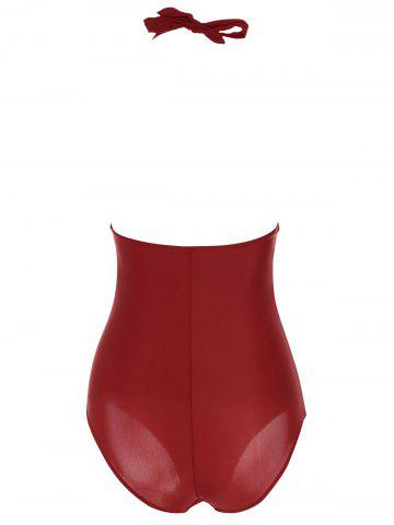 Best One Piece Halter Push Up Swimsuit - M RED Mobile