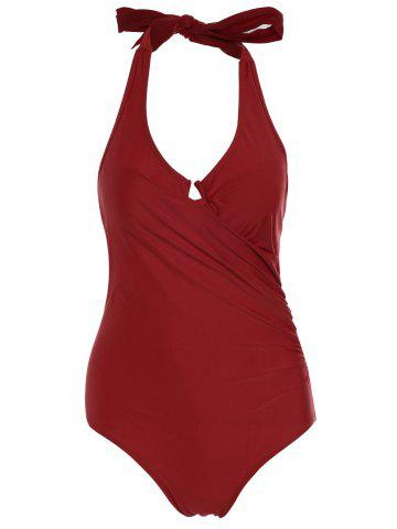 Fancy One Piece Halter Push Up Swimsuit - M RED Mobile