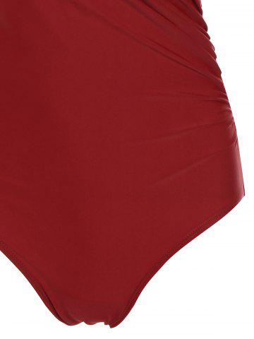 Online One Piece Halter Push Up Swimsuit - M RED Mobile