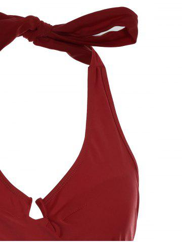 Shops One Piece Halter Push Up Swimsuit - M RED Mobile