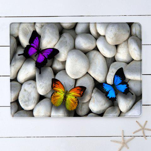 Fashion Butterfly On The Stone Pattern Anti-skid Water Absorption Area Rug - W16 INCH * L24 INCH WHITE Mobile