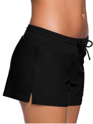 Online Drawstring Tied Swim Boyshort - S BLACK Mobile