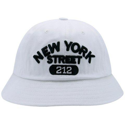 Best Number Letters Embroidered Bucket Hat WHITE