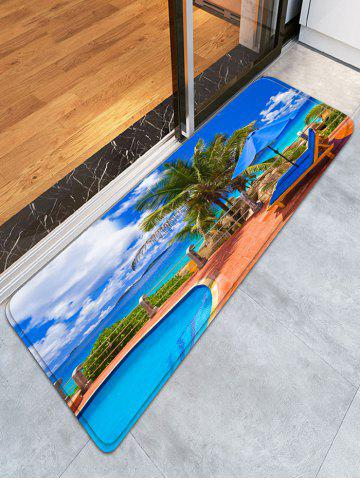 Unique Swimming Pool Skidproof Flannel Beach Bath Rug - W16 INCH * L47 INCH BLUE Mobile