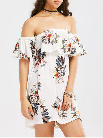 Discount Off The Shoulder Flounce Floral Print Dress - S WHITE Mobile