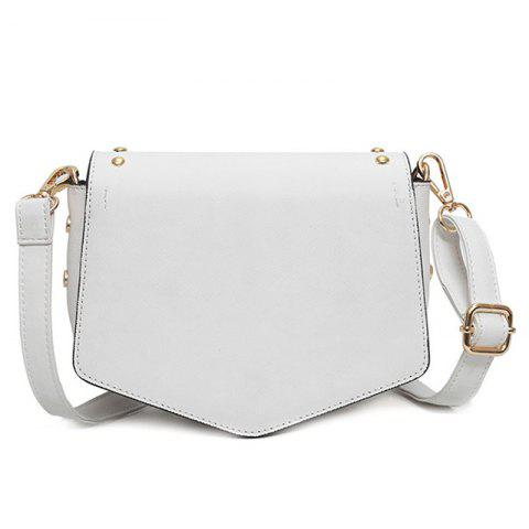 Outfit Printed Rivet Crossbody Bag - WHITE  Mobile