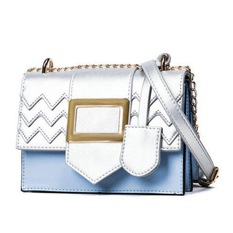 Outfit Color Block Chains Crossbody Bag - BLUE  Mobile