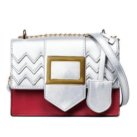 Shops Color Block Chains Crossbody Bag - RED  Mobile