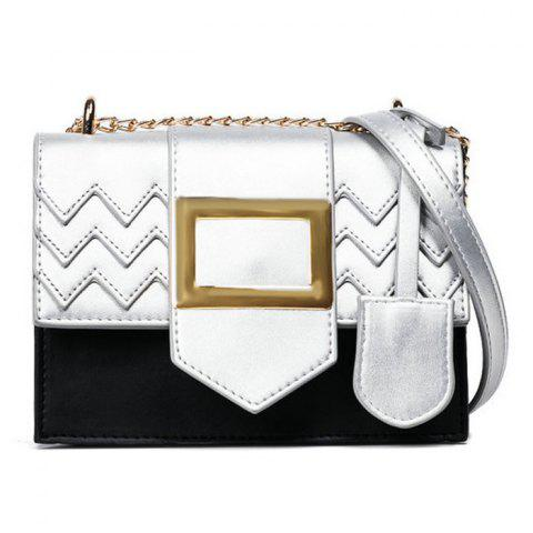 Outfit Color Block Chains Crossbody Bag - BLACK  Mobile