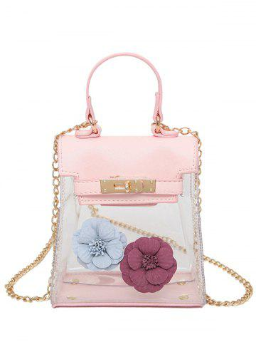 Fashion Flower Transparent Clear Handbag PINK