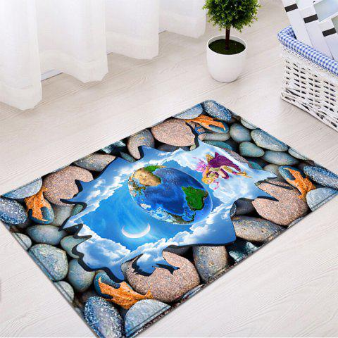 Unique 3D Stone Earth Pattern Flannel Water Absorption Area Rug - W16 INCH * L24 INCH COLORMIX Mobile