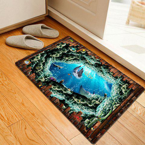 Latest Nautical Dolphin 3D Pattern Water Absorption Flannel Area Rug - W16 INCH * L24 INCH COLORMIX Mobile