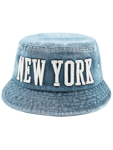 Latest Flat Top Denim Letters Embroidered Bucket Hat