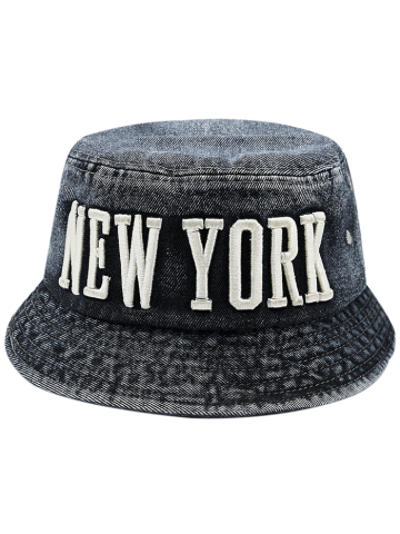 Shop Flat Top Denim Letters Embroidered Bucket Hat BLACK