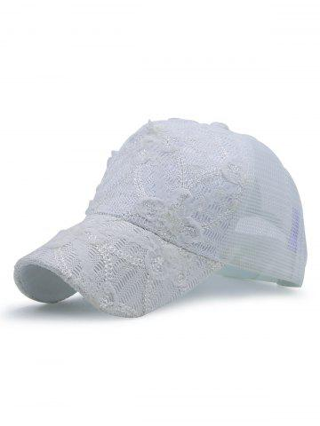 Unique Sequin Lace Mesh Splicing Baseball Hat WHITE