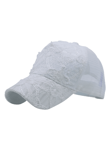 Outfit Sequin Lace Mesh Splicing Baseball Hat - WHITE  Mobile