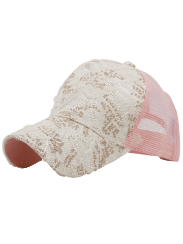 Chic Sequin Lace Mesh Splicing Baseball Hat - PINK  Mobile