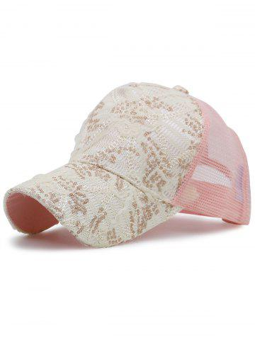 Best Sequin Lace Mesh Splicing Baseball Hat - PINK  Mobile