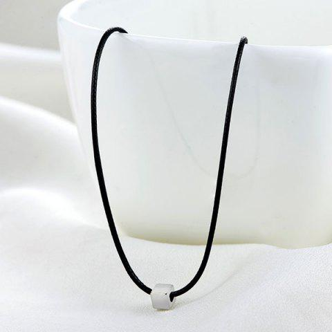 Artificial Leather Rope Cube Collarbone Necklace - Black