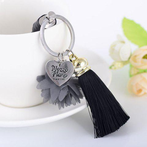 Heart Engraved Flower Tassel Key Chain - Black
