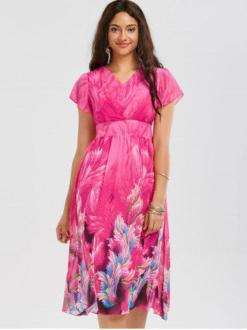 Cheap Casual Bohemian Floral Flowy Midi Dress - M ROSE RED Mobile
