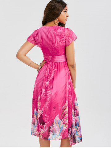 Online Casual Bohemian Floral Flowy Midi Dress - M ROSE RED Mobile