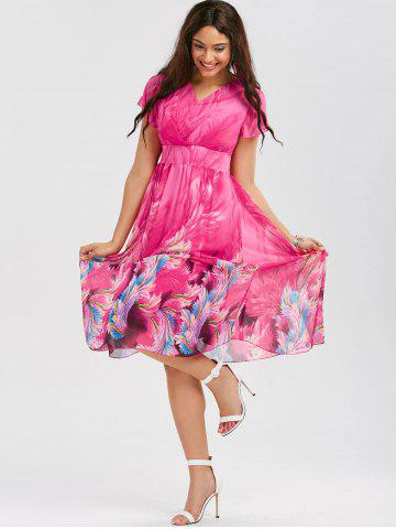 Affordable Casual Bohemian Floral Flowy Midi Dress - L ROSE RED Mobile