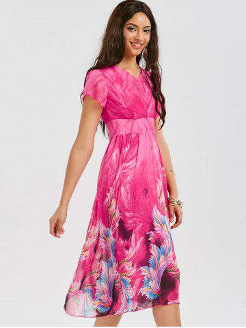 Affordable Casual Bohemian Floral Flowy Midi Dress - 2XL ROSE RED Mobile