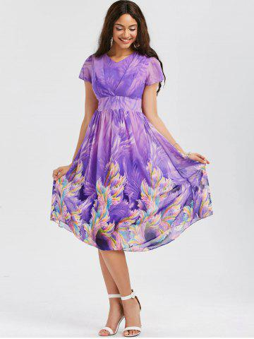 Fashion Casual Bohemian Floral Flowy Midi Dress - L PURPLE Mobile