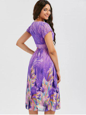 Hot Casual Bohemian Floral Flowy Midi Dress - L PURPLE Mobile