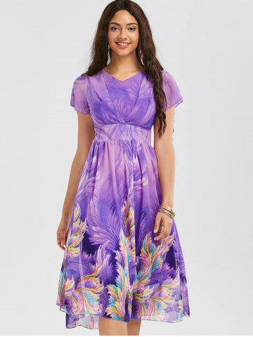 Latest Casual Bohemian Floral Flowy Midi Dress - L PURPLE Mobile