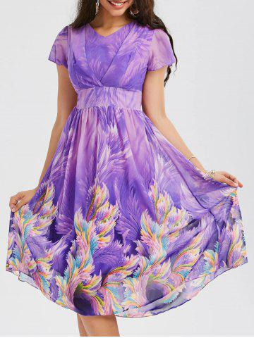 Online Casual Bohemian Floral Flowy Midi Dress - L PURPLE Mobile