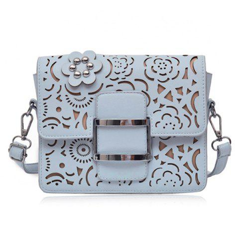 Outfits Buckled Laser Cut Crossbody Bag - BLUE  Mobile
